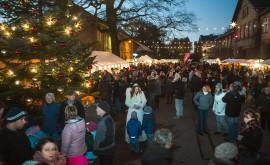 Historischer Hof mit Tannenbaum und Weihnachtsengel - Pressefoto