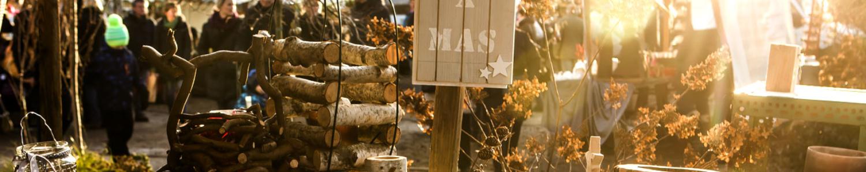 Wintersonne fällt auf Holzscheite, im Hintergund; Besucherinnen und Besucher der Baumschulen Späth