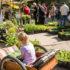 Festszene: Kind im Bollerwagen, einen Flyer betrachtend, im Hintergrund eine Besucherschlange an einem Pflanzenstand