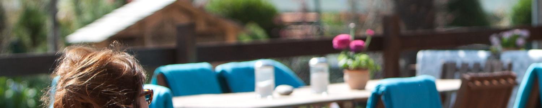 Blick auf die Terrasse des Hofcafé Spaeth